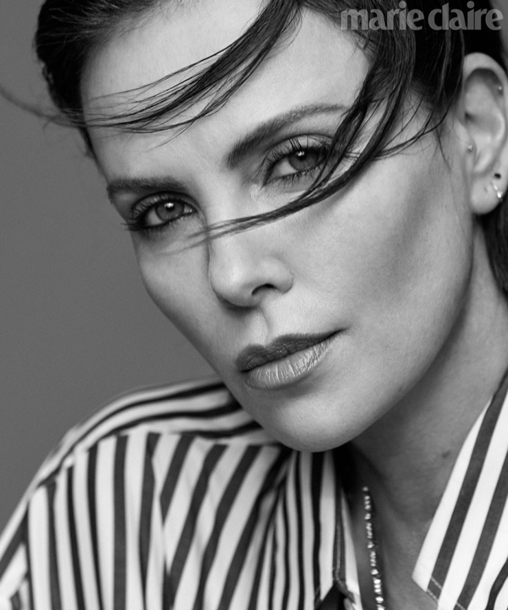 Charlize Theron castanha Marie Claire