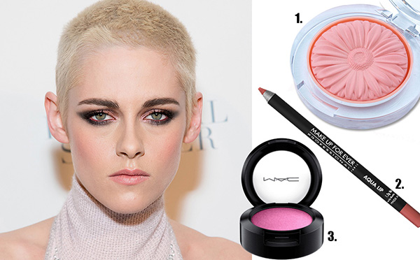 1. Blush Melon Pop. R$ 129 na Clinique / 2. Lápis Aqua Lip, 25c Make Up For Ever. R$ 99 na Sephora / 3. Sombra Cherry Topped. R$ 74 na M.A.C